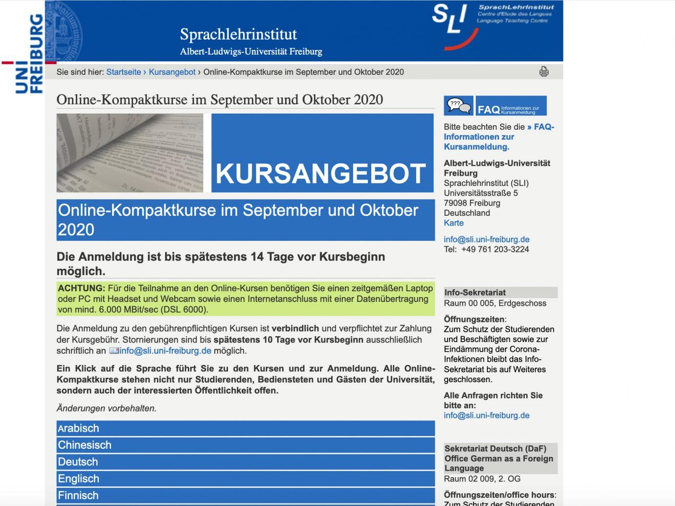 Online-Kurse am Sprachlehrinsitut